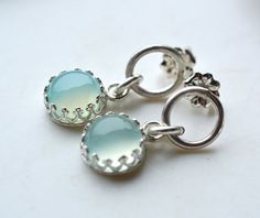 Cute Post Earrings in Sterling Silver and Aqua by EONDesign, $34.00