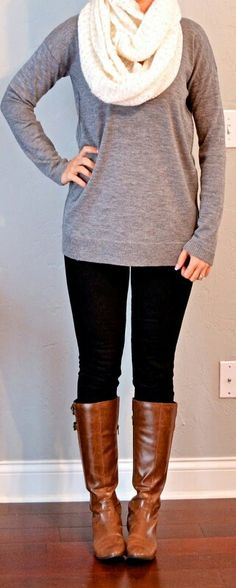 Fall- grey sweater, white scarf, black leggings, brown boots
