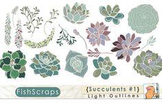 Succulents Clip Art - Light Outlines by FishScraps on Creative Market