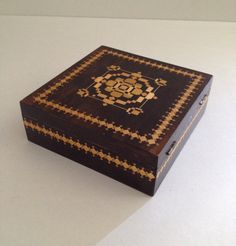 Vintage Russian Wood Box with Straw Marquetry Straw by Relikology