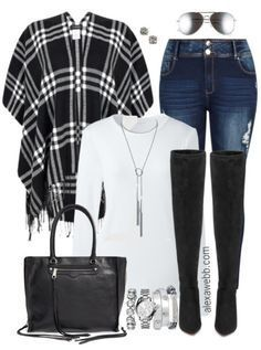 Plus Size Plaid Wrap Outfit - Plus Size Fashion for Women - http://alexawebb.com #alexawebb