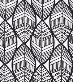 Ethnic Fabric Black White Print Home Decor Fabric