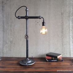 Industrial Desk Lamp Bare Edison Bulb Iron by newwineoldbottles, $195.00