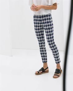 Image 2 of HOUNDSTOOTH TROUSERS from Zara