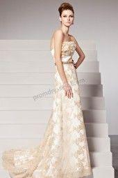 2014 Champagne Off-Shoulder Lace Flower Train Bridal dress BY502