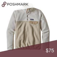 Patagonia Lightweight T Snap Synchilla Pullover Bleached stone with khaki lightweight Pullover. Brand new never worn. Tags are all still attached. Patagonia Sweaters