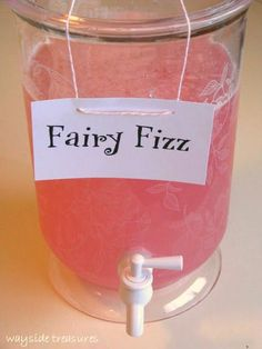 "Planning a Wallykazam birthday party for your kid? This ""fairy fizz punch"" makes for a cute kids' party drink, and brings to mind Wally's friend Libby Lite Sprite! Fairy Birthday Party, 3rd Birthday Parties, Paris Birthday, Spa Birthday, 1st Birthday Party Ideas For Girls, 1st Birthday Princess, Third Birthday, Garden Birthday, Birthday Gifts"