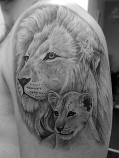 Lion and cub by Wendy McAninch, Tanglewood Tattoo Studio UK
