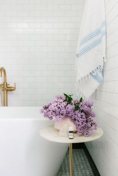 bathroom with sweet lilacs