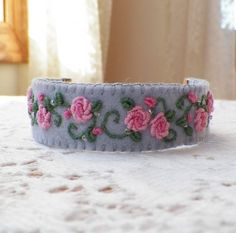 Grey Felt Embroidered Pink Roses Cuff Bracelet