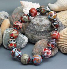 SJC Lampwork 14 handmade silver glass & dichroic round beads ~SRA~ USA~ #SJCLampwork #Lampwork