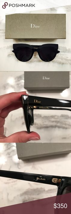 Dior Soft Cat Eye Sunglasses Authentic Christian Dior Cat Eye sunglasses only worn twice. In perfect condition with no scratches. Comes with lenses cloth, pouch, magnetic fold over case, and second case. 100% UV protection. 51 mm lens width Christian Dior Accessories Sunglasses
