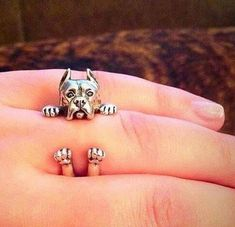 Adornthehunter.com Silver plated highly detailed pitbull wrap ring. Size 7 but slightly adjustable  Due to the high demand for this ring it may take 2-3 weeks for it to mail out.
