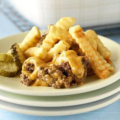 Hamburger-and-Fries Casserole (add whatever hamburger toppings you like before eating it..fun idea!)