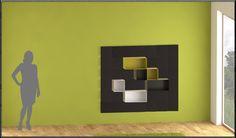 www.yacube.eu . Modular example of modern minimalistic shelves with magnetic modular components .