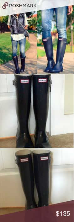 Hunter Original Tour Gloss Rain Boots Hunter Original Tour Gloss Rain Boots in Navy. Size 8. Packable so super easy to travel with! Bought a while ago and have been worn MAYBE twice. Perfect condition. Open to offers! Would love to trade for a short pair! :) any color. Hunter Shoes Winter & Rain Boots