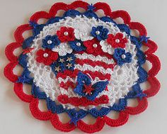 Patriotic Red White Blue 4th of July Crochet Doily Basket Flowers