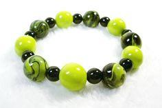 Green and Black Stretch Bracelet