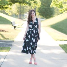 Loving this floral midi dress with wrap front from banana republic.  From I Do Declare Blog.