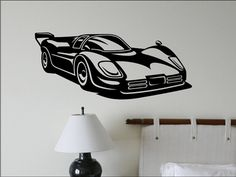 In RED- Race Car Wall Decal  Kids Bedroom Wall Decor by vgwalldecals, $40.00