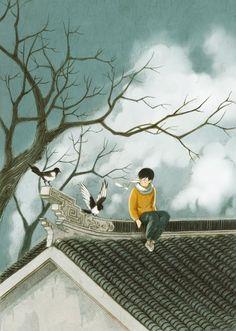 Çinli illüstratör Jin Xingye, Green adlı illüstrasyon serisinde insan ve doğa arasındaki kopmuş bağları birleştiriyor.