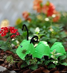 """The kids went on a caterpillar hunt!  Different colored """"caterpillars"""" were hidden throughout the yard! :)"""