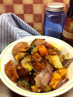 Easy Roasted Sausage and Veggies, Paleo