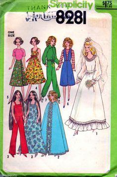 Simplicity 8281 Doll Clothes Pattern UNCUT Barbie Cher Farrah Fawcett