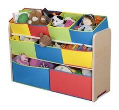 Delta Multi-Color Deluxe Toy Organizer with Storage Bins - - Product Description: Features: -Rugged and removable. Includes: -Includes four regular bins, three double bins and 2 extra large bins. Toy Storage Solutions, Kid Toy Storage, Storage Bins, Storage Ideas, Nursery Storage, Storage Rack, Storage Containers, Toy Bin Organizer, Toy Organization