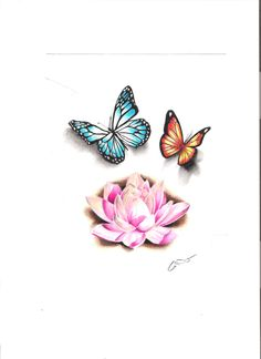 Butterflies and flowers tattoo. Colour.