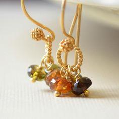 Tourmaline Cluster Earrings 24K Gold Vermeil Brown por livjewellery