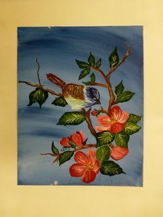 Original Acrylic Painting Blue Bird Art Pink Flowers Branch Leaves Leaf Floral Signed via Etsy $18