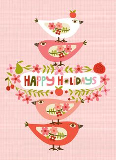 GREETING CARDS & INVITATIONS :: NEW! Happy Holiday Partridges - Ecojot - eco savvy paper products