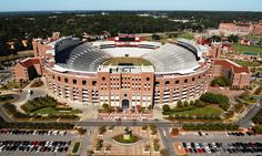 FSU - Florida State University Seminoles - low aerial of Bobby Bowden Field at Doak Campbell Stadium