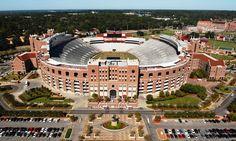FSU - Florida State University Seminoles - low aerial of Bobby Bowden Field at Doak Campbell Stadium