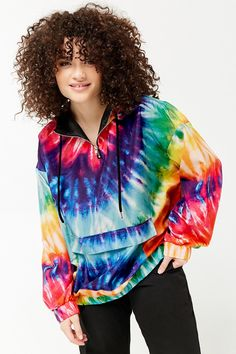 Product Name:Plus Size Rainbow Tie-Dye Anorak, Category:plus_size-main, Price:27.9