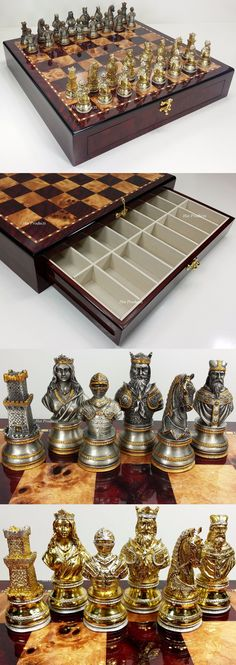 Other Chess 180348: Pewter Metal Medieval Times Crusades Busts Chess Set Cherry Color Storage Board -> BUY IT NOW ONLY: $499.95 on eBay!