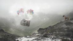#photomanipulation #photoshop #photography #mattepainting #postproduction #house #fly #baloon #dog