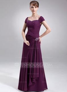 A-Line/Princess Sweetheart Floor-Length Ruffle Beading Zipper Up Cap Straps Sleeveless No Grape Fall General Plus Chiffon Mother of the Bride Dress