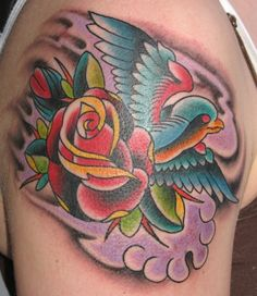 bird and rose tattoo - Google Search