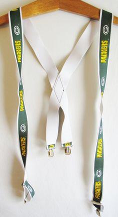 Vintage 1990's Retro Green Bay Packers Suspenders by FreshtoDeathVintage, $27.50