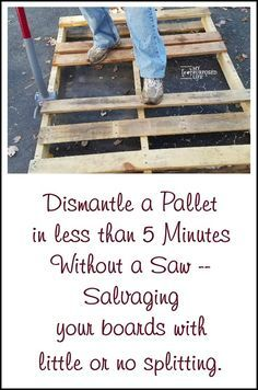 Pallet projects for everyone. These pallet projects will inspire you to do your own project. Tips for taking pallets apart in less than five minutes.