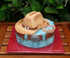 Cowboy Cake - what a cute idea for a groom's cake, cowboy birthday cake. Cowboy Birthday Cakes, Cowgirl Cakes, Cake Birthday, Cowboy Party, Cowboy Theme, Fondant Cakes, Cupcake Cakes, Cake Icing, Western Theme Cakes