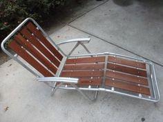 Vintage-Redwood-Aluminum-Folding-Lawn-Chair-Chaise-Lounge