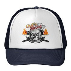 Chef Skull Hat: Chef's Special - You'll just die if you miss out on the Chef's Special. This cool and classy chef skull hat is available in different colors to suit your style. A fun gift for anyone with a fierce passion for cooking. Visit www.zazzle.com/thechefshoppe to see more cool culinary themed skulls!