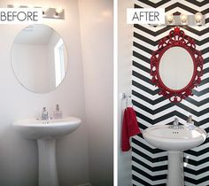 DIY Chevron-Bathroom Makeover! Would be cool with any bold print and color
