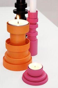 Kandelaar van doppen, candleholder from bottle cap