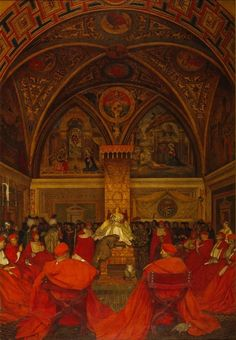 Lucrezia Borgia reigns in the Vatican by Frank Cadogan Cowper. Alexander VI named Lucrezia administrator of the Church and the Vatican.