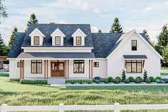This beautiful Modern Farmhouse plan greets you with a front porch with four pairs of columns supporting standing seam shed roof with three dormers above. Step through the french doors and into the fo