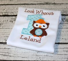 Boy's Owl Birthday Shirt Woodland Birthday by thesimplyadorable